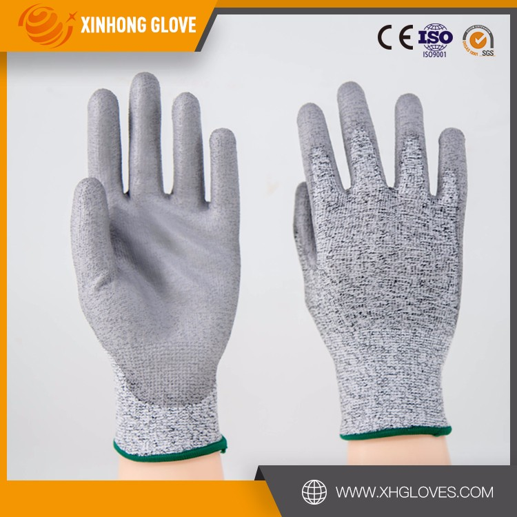 cut resistant pu half coated hand glove with best price