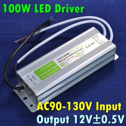 Waterproof Electronic LED Driver Power Supply Transformer 90V-230V to 12V 100W