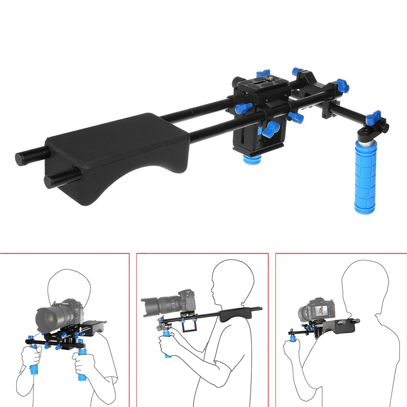 Movie Kit Set Camera Rig Camrig Shoulder Support Kit Mount With Two Handles and Shoulder Pad (Adjustable Riser) / 1/4'' and 3/8'' Standard Thread for DSLR Camera Such as: Canon EOS 60D 1D Canon 5D Mark II Fujifilm X-Pro1
