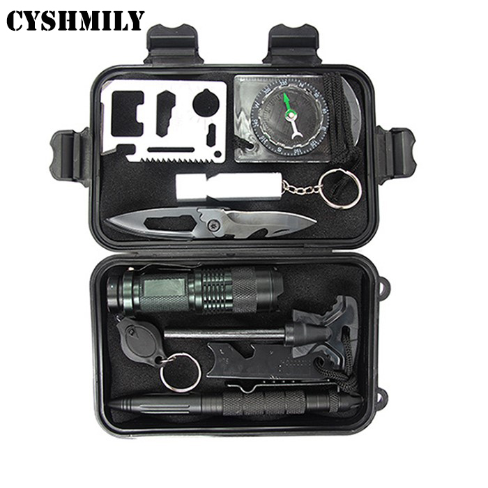 CYSHMILY Emergency Survival Gear Kit 11 in 1 Survival Tools Outdoor Survival Kits for Traveling Hiking Biking
