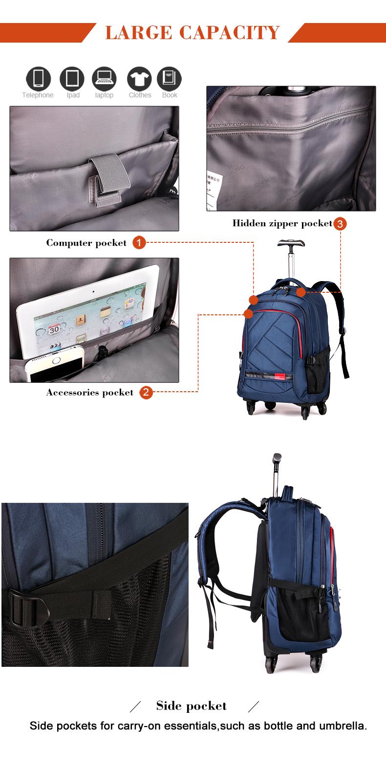 Hommes Unisexe Voyage Sac à dos Sac à dos avec roulettes Women/'s Trolley Sacs NOUVEAU
