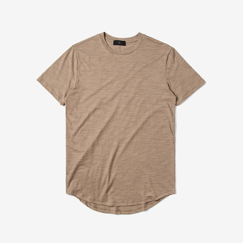 Hot sale khaki blank round neck curved bottom fashion cotton custom your own design t shirt