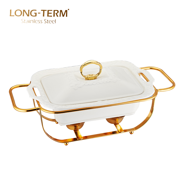 L4131AN Restoran Peralatan Masak Peralatan Prasmanan Persegi Panjang Mewah Tutup Keramik Chafing Dish