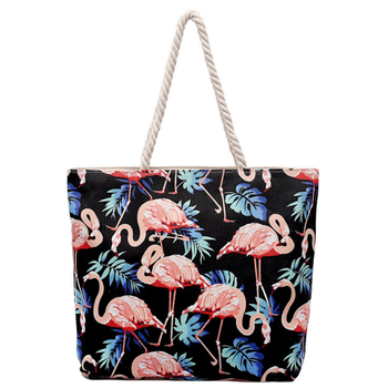 Flamingo shopping tote bags large capacity leisure bag canvas women tote handbag hemp rope beach bag