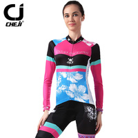 CHEJI cycling jerseys female suit long sleeve in the spring and autumn Mountain bicycle equipped with top cycling shorts