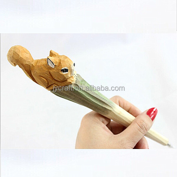 hand carved wooden animal squirrel heads pens