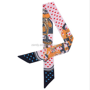 2018 Imitate real silk love lock pattern custom printed scarves women decorative bands celebrate coloured ribbon