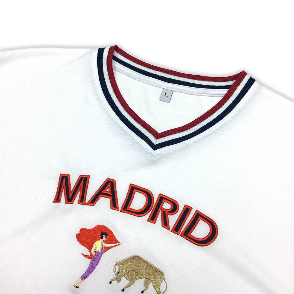 New fashion wholesale custom Madrid tourist souvenirs embroidery t-shirt