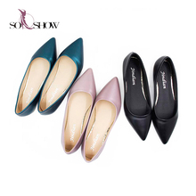 Bright Color Autumn PU Point Toe Black Fancy Flat Shoes 2018 , Ladies Flat Shoes