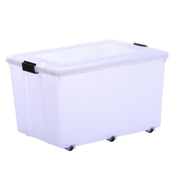 38l 80l Transpa Plastic Underbed Storage Box With Clips And Wheels Folding Lid