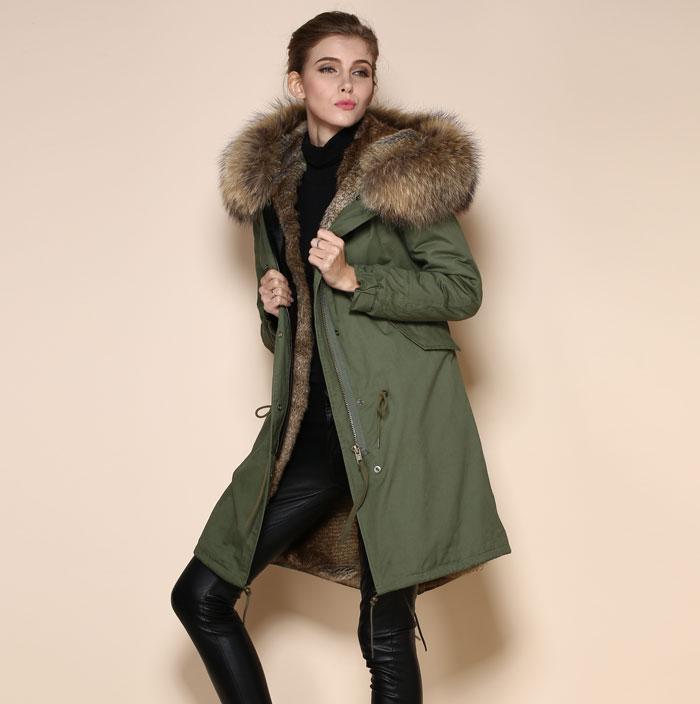 High quality fashion Natural color fur parka brown italian fur ...