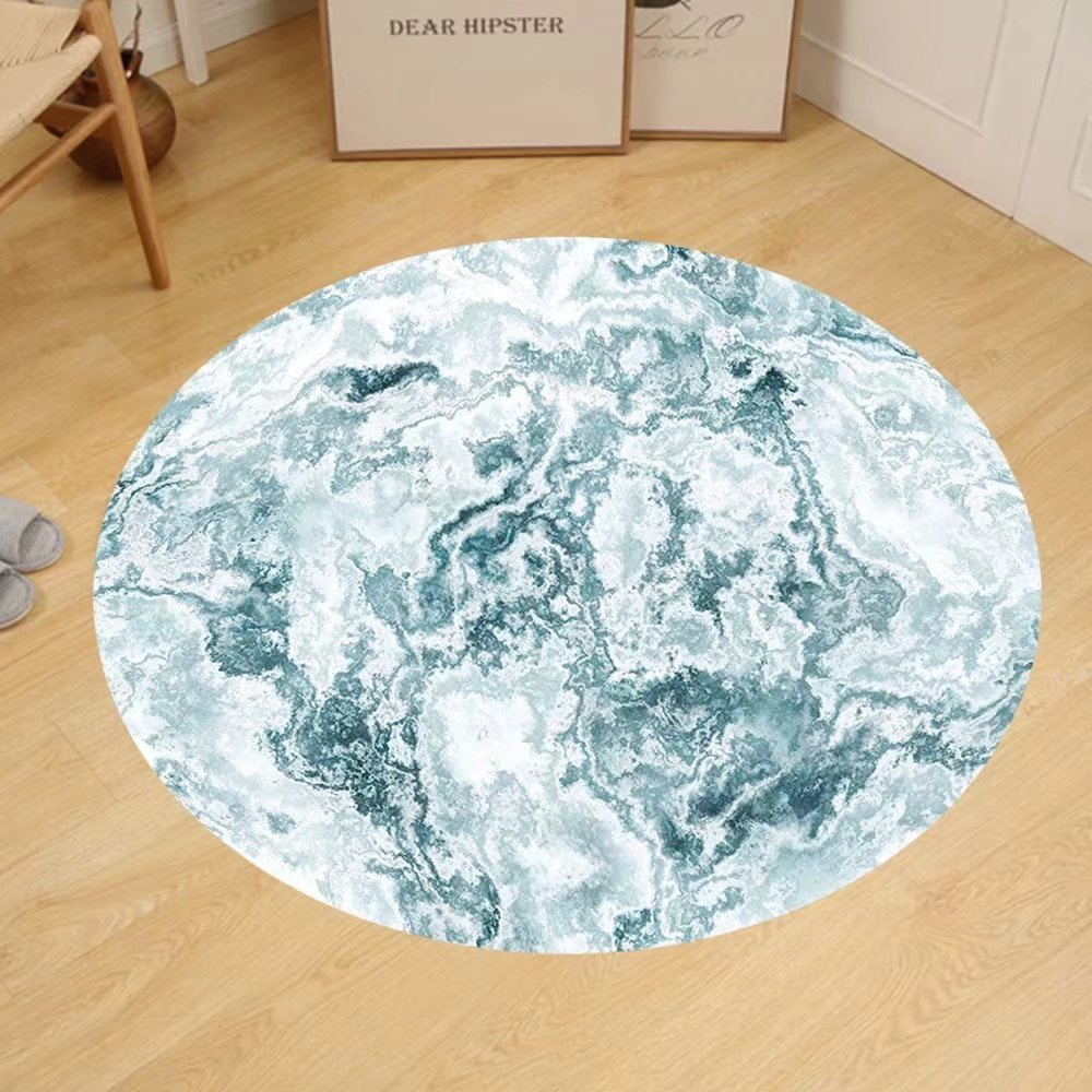 Gzhihine Custom round floor mat Marble Cloudy Layered Colors Ceramic Style Motif of Forms Lines Spotless Design Bedroom Living Room Dorm Slate Blue White Mint