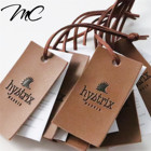New design custom leather and paper hang tag with suede leather string