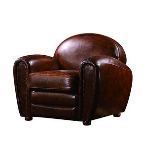 antique leather sofa full top grain leather American vintage sofa chair luxury furniture single seater sofa