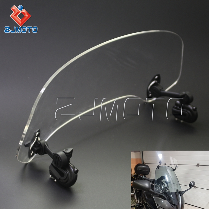 ZJMOTO Universal Adjustable Adjustable Motorcycle Screen Windscreen Windshield Spoiler Air Deflector for HONDA