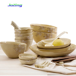 Customized wholesale Japanese Sakura series Ceramic dinnerware with tilted rim