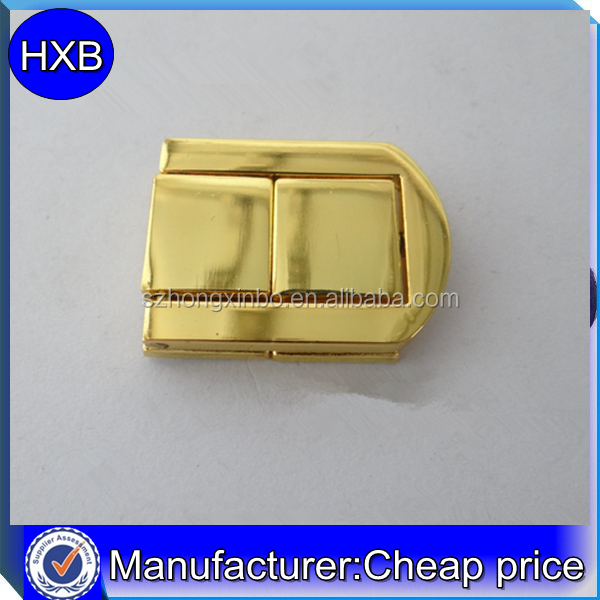 Factory bulk price shiny gold square zinc alloy latch for wooden box jewelry box latch accessories