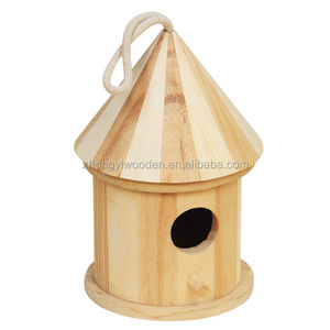 Handmade natural color unfinished unfinished handing handing wooden bird cage nest box
