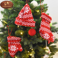 Wholesale small hanging woolen Christmas ornaments/stocking/glove/hat/handmade ornament/home decor/xmas decorations