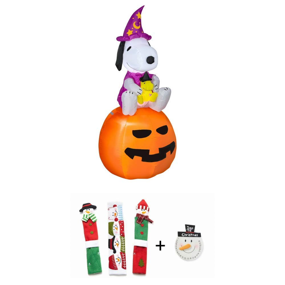 EJloveshopping Halloween Airblown Inflatable Snoopy as Wizard with Woodstock on Pumpkin 5FT Tall by Gemmy and Snowman Kitchen Appliance Handle Covers & Snowman Countdown Calendar