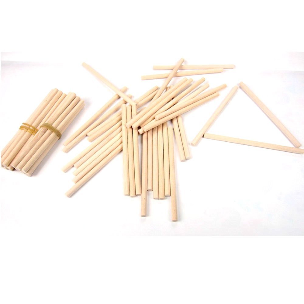 StarMall Set of 10 Unfinished Wooden Counting Sticks Math Counting Game Toy for Kid