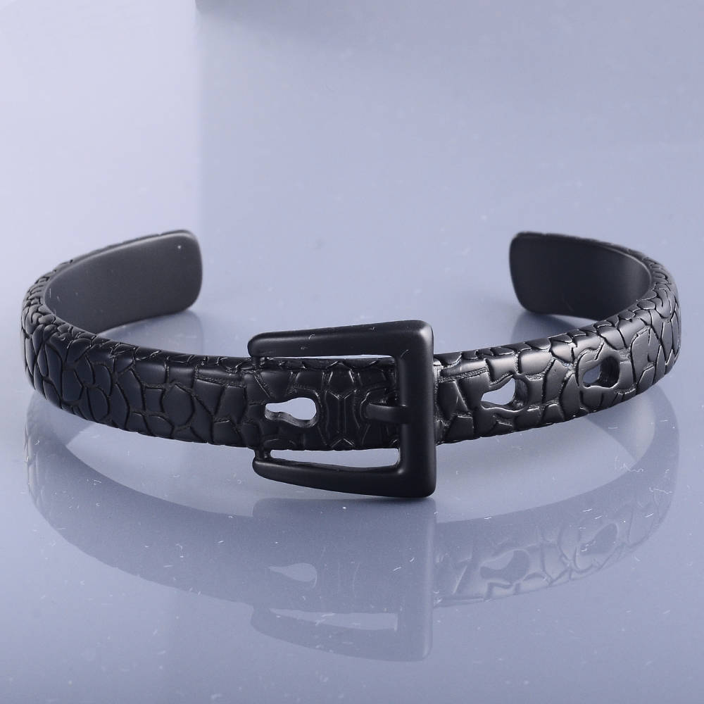 316L Stainless Steel Black Belt Buckle Expandable Bangle