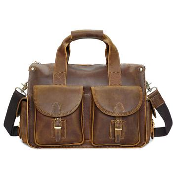YD- 8045 cow leather message bag laptop handbag genuine leather briefcase 930915ea082a5