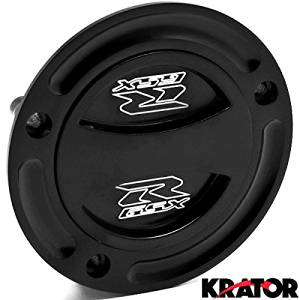 Krator Black Keyless Gas Cap Twist Off Fuel Tank Cap Logo For Suzuki GSXR 1000 2003-2015