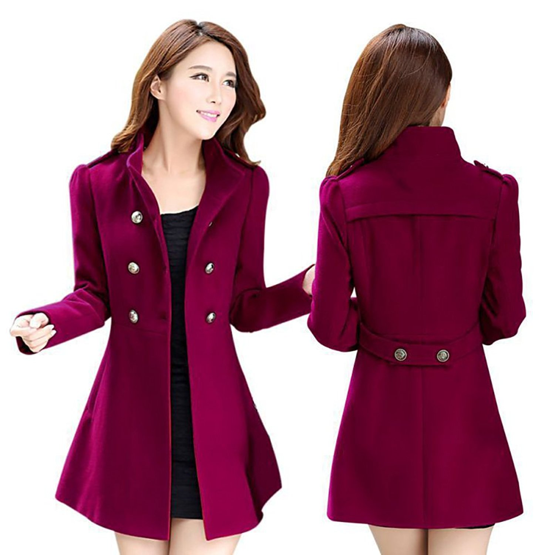 dab389cb0e055 Get Quotations · MUYAOO Women Korean Long Coat Jacket Windbreaker Winter  Slim Outwear