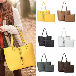 2PCS/Set Women Lady Leather Handbag Shoulder Bag Tote Party Clutch Wallet Purse