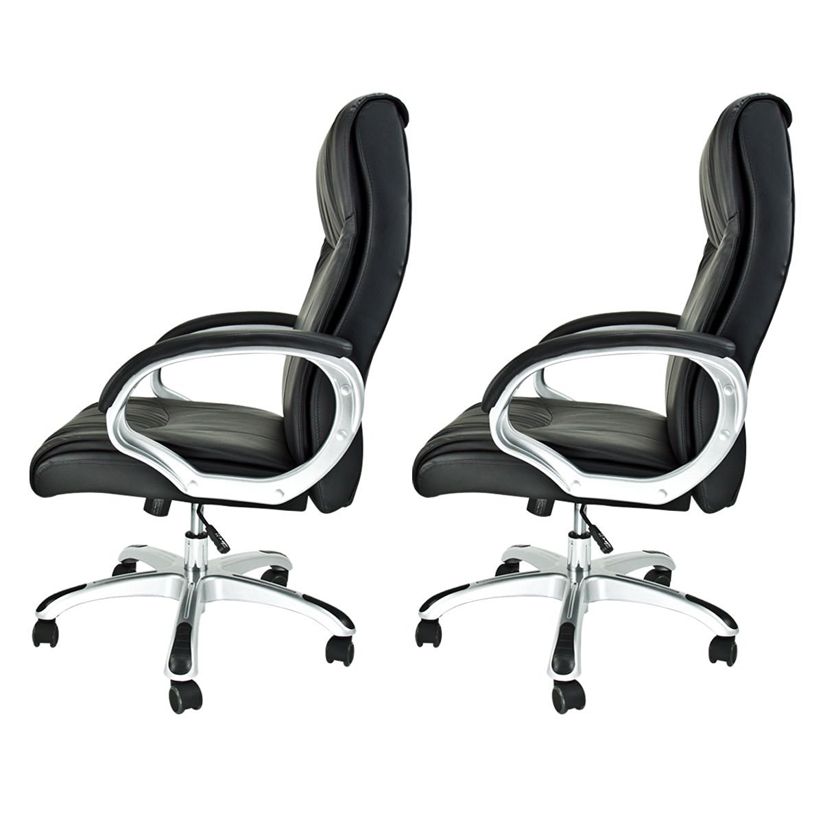 Perchoice 2 X Office Chairs Draft High Back Executive Pu Leather Ergonomic Computer Desk