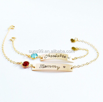Personalized Baby Bracelet With Birthstone Mom And Daughter Matching Set Jewelry