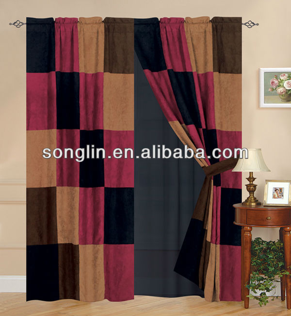 Heavy Patchwork Suede Curtains with 2 Tie Backs