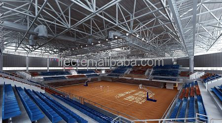 Professional steel structure prefabricated basketball gym with roof cover