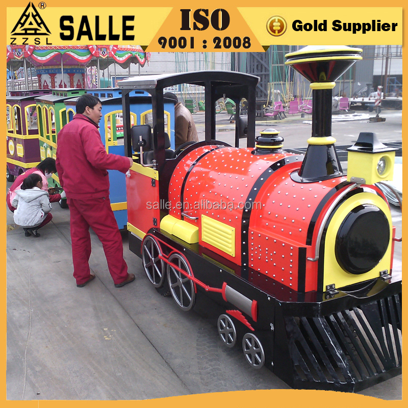 Low price attractions tourist road train sightseeing bus electric road train used trackless train for sale