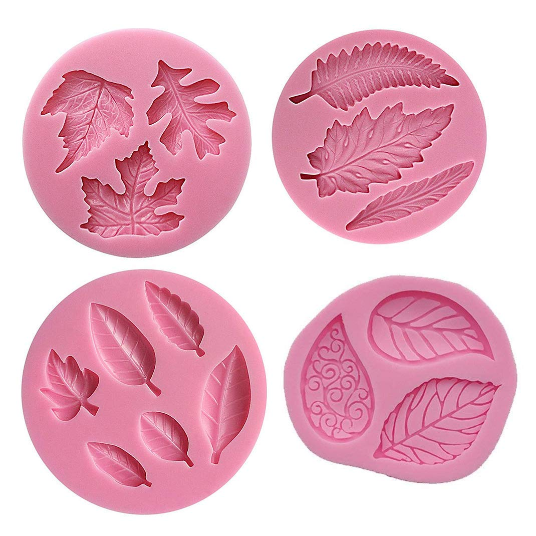 4Pcs Leaves Silicone Fondant Molds, Leaf Candy Mold Cake Sugar Craft Mold Cake Candy Making Mold Cake Baking Tools Chocolate Cake Decorating Molds DIY Cake Maker Cupcake Topper Clay Soap Molds (2#)