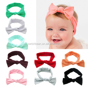 Fashion Baby Girls cotton bow hair band head wraps mixed colors big Bow  turbane Headbandwh- 0bca37690e1