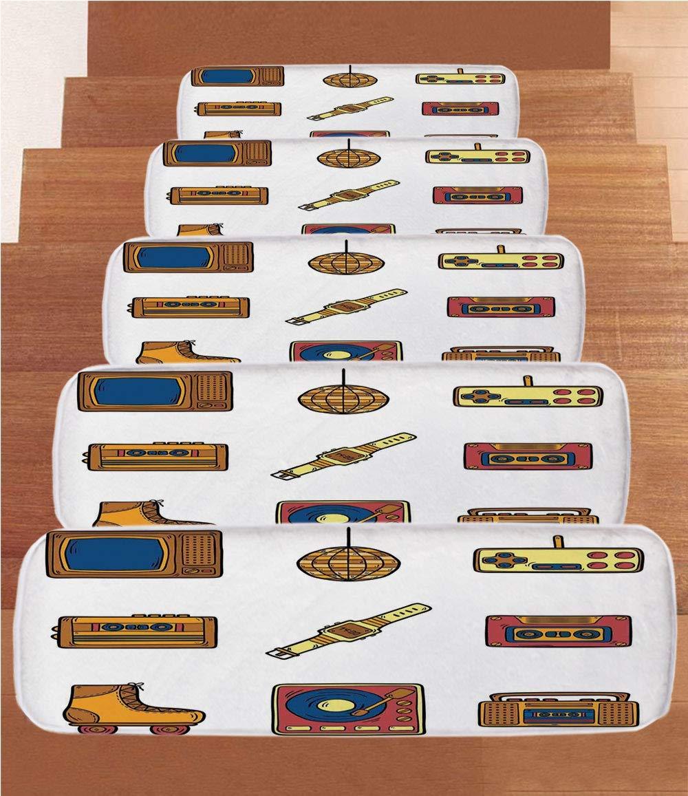 "iPrint Non-Slip Carpets Stair Treads,90s,Cartoon Illustration with Old Fashioned Technology Lifestyle Theme Nostalgic Artwork,Mustard Navy,(Set of 5) 8.6""x27.5"""