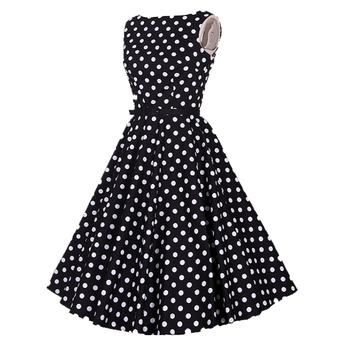 Corta De Algodón De Ropa De Fiesta Ropa Para Mujer Plus Tamaño De Los Años 50 Años 60 Polka Dot Una Línea Vestido De Las Mujeres Buy Vestido Negro