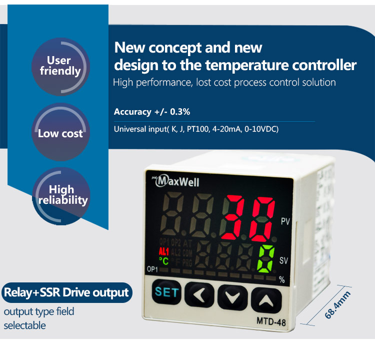MTD-48-C-1-96-NN output field selectable micro temperature controller