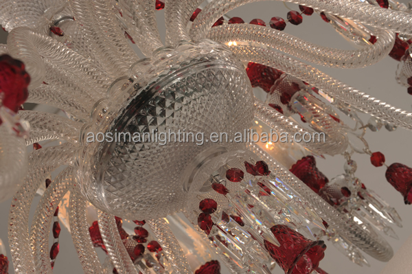 Baccarat Inspired Bedroom Chandelier with 12 Light in Wine Red Color