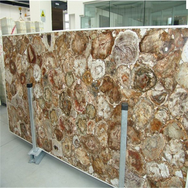 Brown Semi Precious Stone Petrified Wood Slab For Bathroom Top Kitchen Tabletop