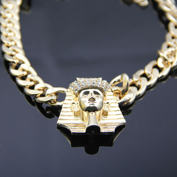New iced out hip hop egyptian king tut pendant with cuban link chain new iced out hip hop egyptian king tut pendant with cuban link chain necklace gold plating aloadofball Gallery
