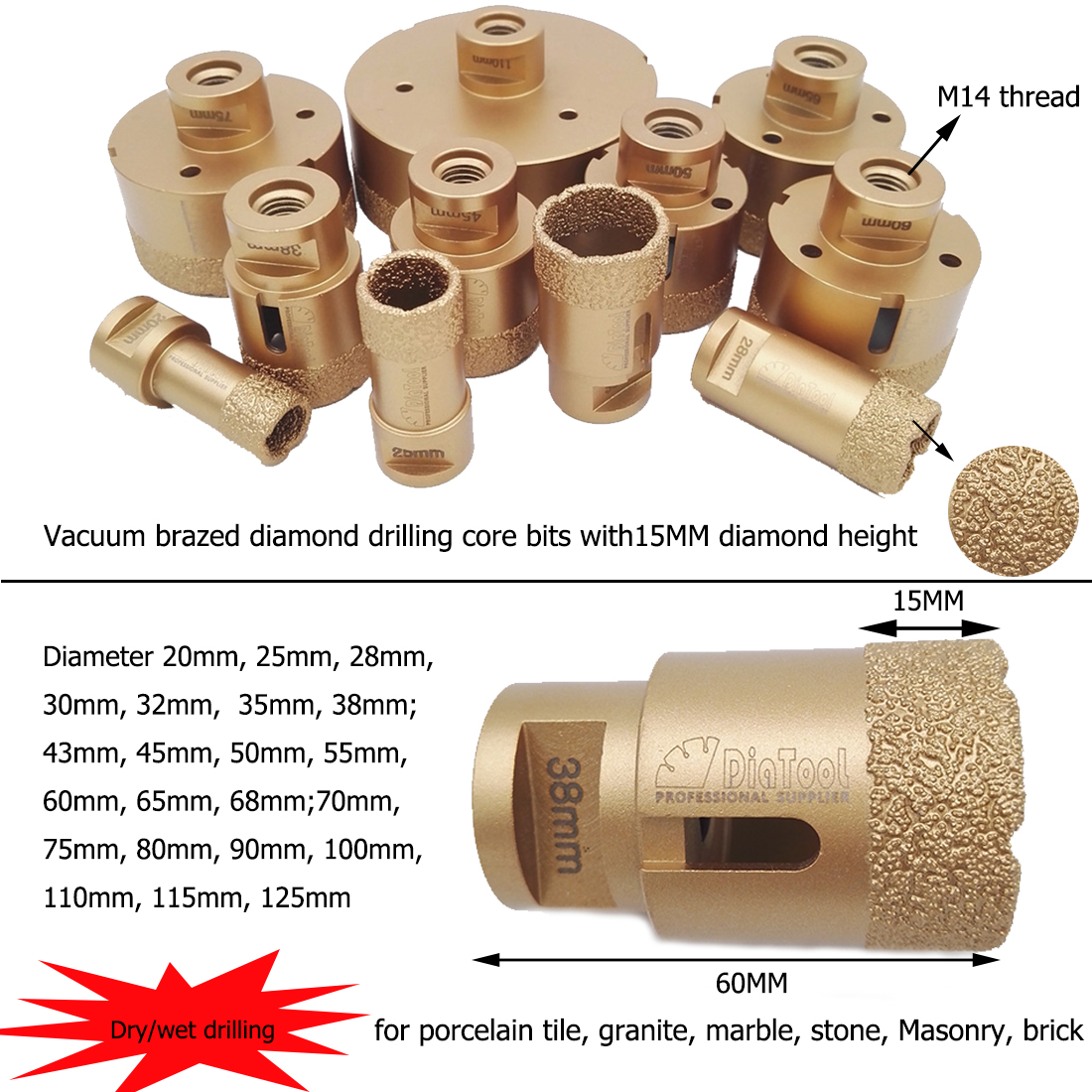 uxcell 30mm Dry//Wet Diamond Core Drill Bit for Granite Concrete Brick Block Stone Masonry