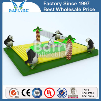 China panda theme inflatable volleyball court with trampoline for adults and kids for sale