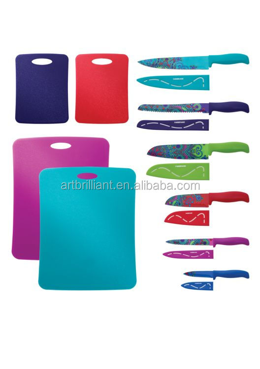Farberware 16 Piece Stainless Steel Colorful Paisley Kitchen Knife Set