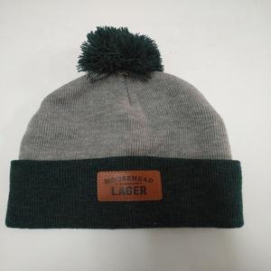 1cca98f8b188c custom acrylic knit winter hat with rubber patch logo with pom pom