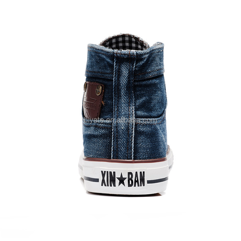 Jean fashion men high canvas shoes wholesale cheap casual school shoes for boy