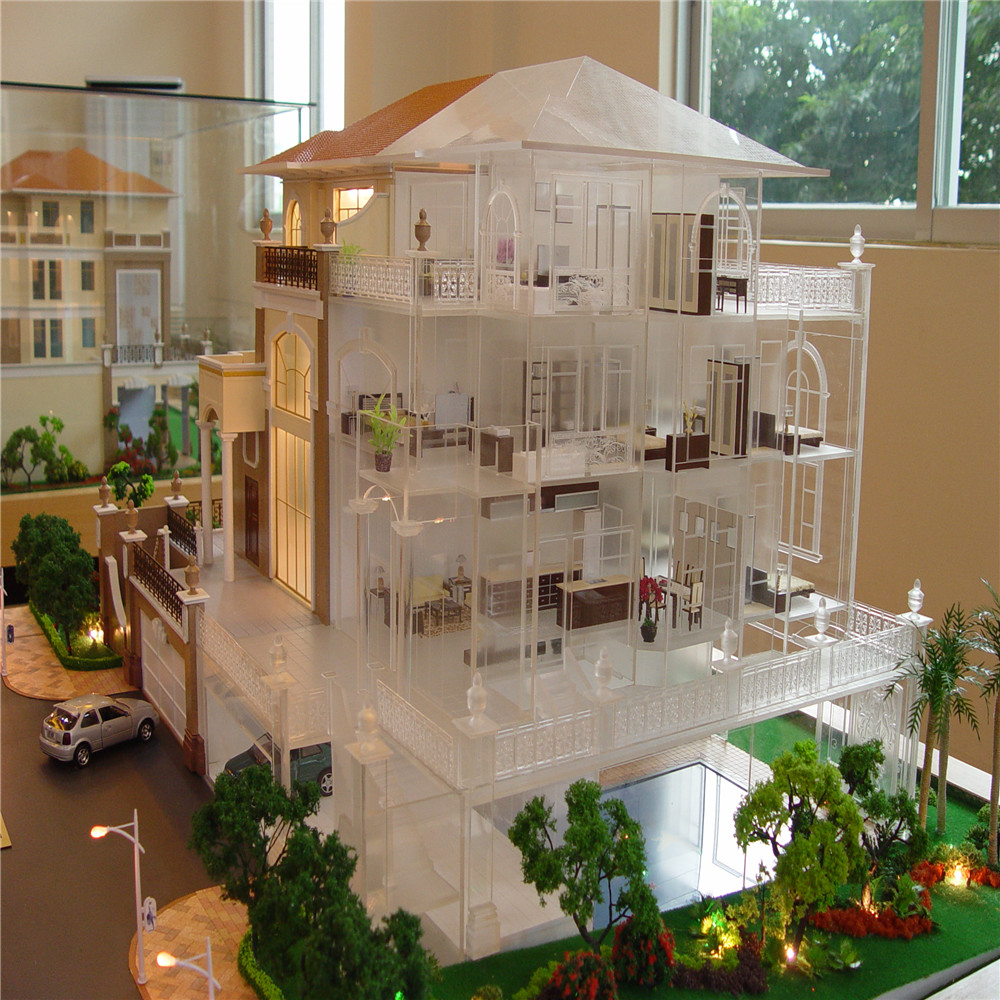 Miniature House Model With Led Light,1:25 Scale Villa House Model ...
