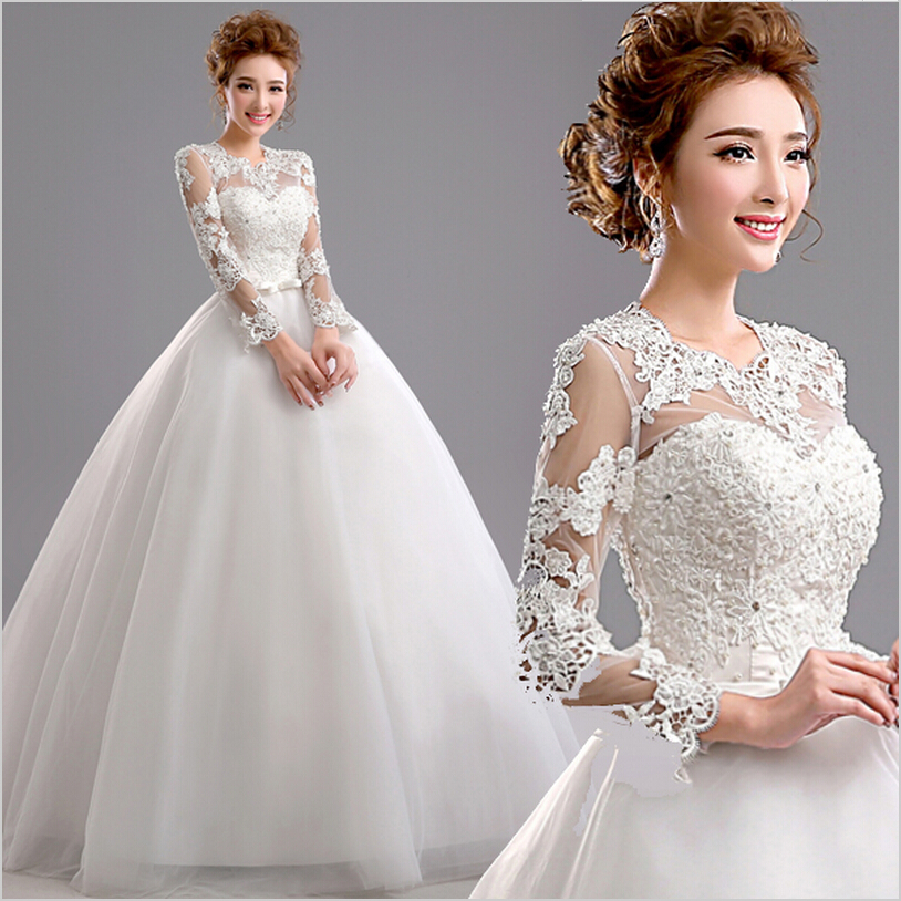 White Wedding Gowns With Sleeves: Aliexpress.com : Buy 2016 New Luxury Lace Plus Size White